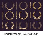 laurel wreaths and branches... | Shutterstock .eps vector #638938534