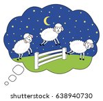awake at night. counting sheep. ... | Shutterstock . vector #638940730