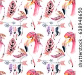 watercolor pink flamingo... | Shutterstock . vector #638948650