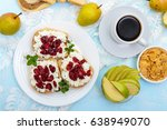 delicious healthy breakfast ... | Shutterstock . vector #638949070
