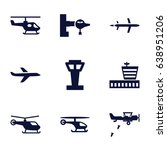 aircraft icons set. set of 9... | Shutterstock .eps vector #638951206