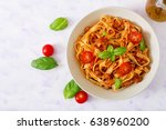 Pasta fettuccine bolognese with ...