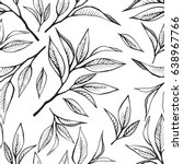 tea leaves seamless pattern.... | Shutterstock .eps vector #638967766