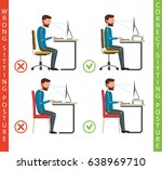 bad and good working position... | Shutterstock .eps vector #638969710
