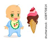 anime child. a small baby with... | Shutterstock .eps vector #638970814