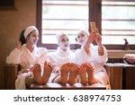 group of famale friends in spa... | Shutterstock . vector #638974753