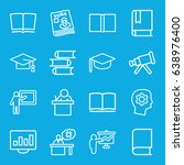 learning icons set. set of 16... | Shutterstock .eps vector #638976400