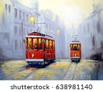 Tram In Old City  Oil Painting...