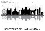 barcelona city skyline black... | Shutterstock .eps vector #638983579