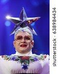 Small photo of KYIV, UKRAINE - MAY 12, 2017: Verka Serduchka former Eurovision winner acts on the main stage during Grand Final Dress Rehearsal 1