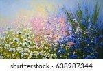 flowers oil paintings landscape | Shutterstock . vector #638987344