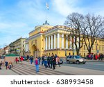 Small photo of SAINT PETERSBURG, RUSSIA - MAY 1, 2017: Unknown people walk near building of Main Admiralty on Admiralty embankment in sunny spring day, St. Petersburg, Russia