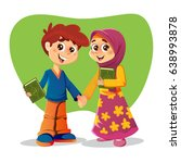 muslim brother and sister... | Shutterstock .eps vector #638993878