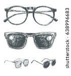 set of eyeglasses and... | Shutterstock .eps vector #638996683