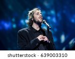 Small photo of KYIV, UKRAINE - MAY 12, 2017: Salvador Sobral the representative of Portugal at ESC (EUROVISION) acts on the main stage during Grand Final Dress Rehearsal 1