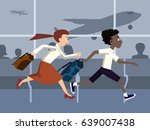 people are late for a plane... | Shutterstock .eps vector #639007438