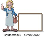 woman with a signboard | Shutterstock .eps vector #639010030