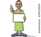woman with a signboard | Shutterstock .eps vector #639010054