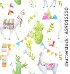 watercolor pattern   a tibetan... | Shutterstock . vector #639012220