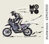 off road motorcycle. sketch... | Shutterstock .eps vector #639019033