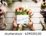 hand holding show get well soon ... | Shutterstock . vector #639030130