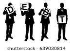 people holding panels isolated... | Shutterstock .eps vector #639030814