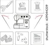 vector set of sewing tools ... | Shutterstock .eps vector #639044209