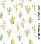 watercolor pattern with cacti ... | Shutterstock . vector #639052024