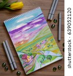sketchbook with hand drawn... | Shutterstock . vector #639052120