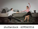 young couple dancing swing... | Shutterstock . vector #639063316