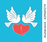 two doves and hearts on a blue... | Shutterstock .eps vector #639069274