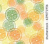 citrus seamless pattern. hand... | Shutterstock .eps vector #639071956
