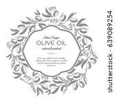 olive oil round wreath sketch... | Shutterstock .eps vector #639089254