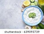 tzatziki   yoghurt sauce with... | Shutterstock . vector #639093739