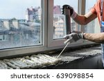 worker is using a polyurethane...   Shutterstock . vector #639098854