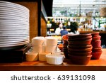 stack of plates in a restaurant ...   Shutterstock . vector #639131098