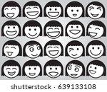 set of black and white emotion... | Shutterstock .eps vector #639133108