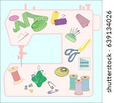 vector set of sewing tools ... | Shutterstock .eps vector #639134026