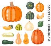 fresh orange pumpkin decorative ... | Shutterstock .eps vector #639137290
