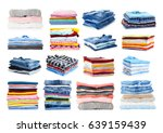 Stock photo stacks of folded clothes on white background 639159439