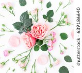floral pattern made of pink... | Shutterstock . vector #639186640