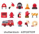 fire safety equipment ... | Shutterstock .eps vector #639187039