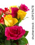 Bouquet With Colorful Roses On...