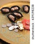 gourmet date chocolates... | Shutterstock . vector #639198238