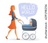 happy young mom with a boy in a ... | Shutterstock .eps vector #639198256