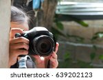 cute small girl with the camera ... | Shutterstock . vector #639202123