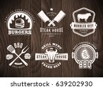 Stock vector bbq burger grill badges set of vector barbecue logos retro emblems for steak house or grill bar 639202930