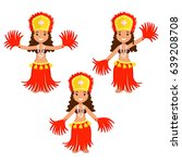 Set Of Three Cartoon Polynesia...