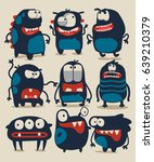 cute monsters vector set for t... | Shutterstock .eps vector #639210379