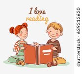 cute boy and girl reading book | Shutterstock .eps vector #639212620